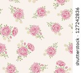 shabby chic rose pattern.... | Shutterstock .eps vector #127242836