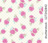 shabby chic rose pattern with... | Shutterstock .eps vector #127242842