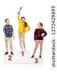 schoolchildren with medals... | Shutterstock . vector #1272429895