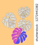 vector tropical pattern with... | Shutterstock .eps vector #1272441382