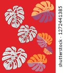 vector tropical pattern with... | Shutterstock .eps vector #1272441385