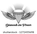 monochrome winged diamond in... | Shutterstock . vector #1272455698