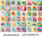 baby items icon set. flat set... | Shutterstock .eps vector #1272459472