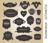 vintage labels set. vector... | Shutterstock .eps vector #127246712