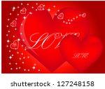 valentine hearts background.... | Shutterstock .eps vector #127248158