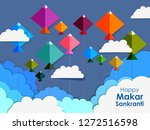 Stock vector easy to edit vector illustration of happy makar sankranti background with colorful kite 1272516598