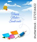 Stock vector easy to edit vector illustration of happy makar sankranti background with colorful kite 1272516622