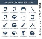 16 beard icons. trendy beard... | Shutterstock .eps vector #1272613018