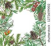 christmas background. hand... | Shutterstock . vector #1272659002