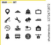 build icons set with map  robot ...