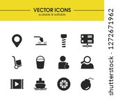 industry icons set with bolt ...