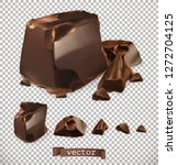 chocolate pieces  3d vector set | Shutterstock .eps vector #1272704125