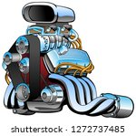Hot Rod Race Car Engine Cartoo...
