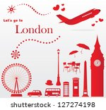 cute london travel set | Shutterstock .eps vector #127274198