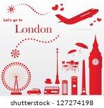 cute london travel set | Shutterstock .eps vector #127274198