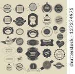 Stock vector set of retro vintage labels and ribbons vector illustration 127274975