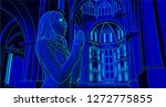 nun praying in a cathedral...   Shutterstock .eps vector #1272775855