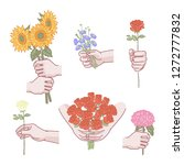 holding flowers hands male set. ... | Shutterstock .eps vector #1272777832