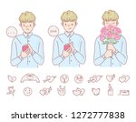 love man holding flowers hands... | Shutterstock .eps vector #1272777838