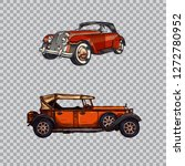 set of retro cars in vintage... | Shutterstock .eps vector #1272780952
