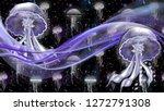 3d wallpaper   purple neon... | Shutterstock . vector #1272791308