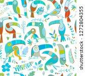 toucans  paradise tropical bird.... | Shutterstock .eps vector #1272804355