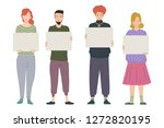 group of young people holding... | Shutterstock .eps vector #1272820195
