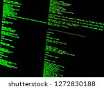 Small photo of Green code in command line interface. UNIX bash shell