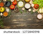 fresh raw vegetable ingredients ... | Shutterstock . vector #1272840598