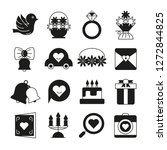 wedding and valentine icons set | Shutterstock .eps vector #1272844825