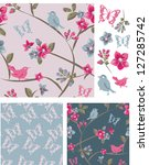 spring bird floral vector... | Shutterstock .eps vector #127285742