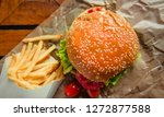 hamburger pork and french fries.... | Shutterstock . vector #1272877588