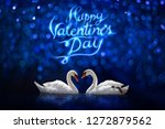 couple white swan on happy... | Shutterstock . vector #1272879562