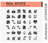 real estate icons set. ui pixel ...