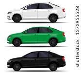 realistic cars set. sedan. side ... | Shutterstock .eps vector #1272955528