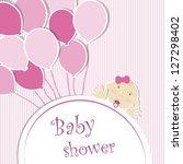 baby shower   girl | Shutterstock .eps vector #127298402