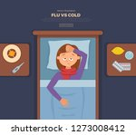 sick girl in bed with the... | Shutterstock .eps vector #1273008412