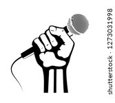 hand with microphone vector icon | Shutterstock .eps vector #1273031998