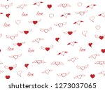 seamless pattern with heart.... | Shutterstock .eps vector #1273037065