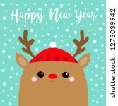 happy new year. raindeer deer... | Shutterstock .eps vector #1273039942