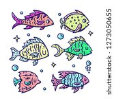 colorful hand drawn fish... | Shutterstock .eps vector #1273050655