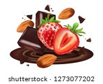 chocolate and strawberry ... | Shutterstock .eps vector #1273077202