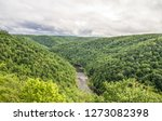 Big South Fork Recreation Area. Panoramic high angle view of the Big South Fork River flowing through the Appalachian Mountains of Kentucky  and Tennessee.