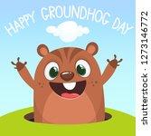 cute cartoon marmot looking... | Shutterstock .eps vector #1273146772