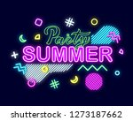 summer neon sign with bright... | Shutterstock .eps vector #1273187662