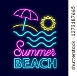 summer neon sign with bright... | Shutterstock .eps vector #1273187665