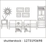 living room in flat design.... | Shutterstock . vector #1273193698