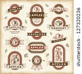 vintage apple labels set.... | Shutterstock .eps vector #127320236