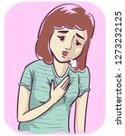 illustration of a girl pressing ... | Shutterstock .eps vector #1273232125