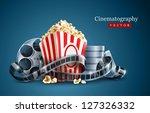 movie film reel and popcorn... | Shutterstock .eps vector #127326332